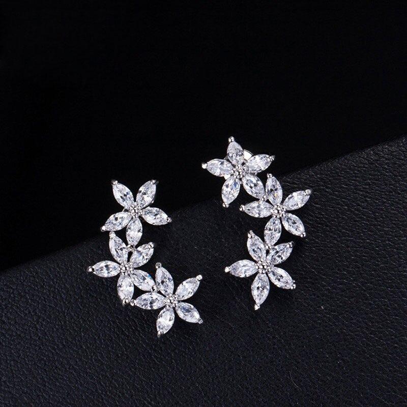 2020 nuevo exquisito blanco tres flores AAA CZ circón oreja Stud moda Color plata Stud pendientes para mujer joyería regalo