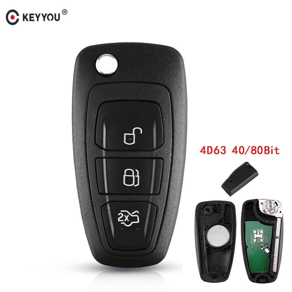 KEYYOU 433MHz 4D63 Chip 3 botones Flip plegable Control remoto llave para Ford Mondeo Focus c-max s-max 2013 2014 2015 2016 2017