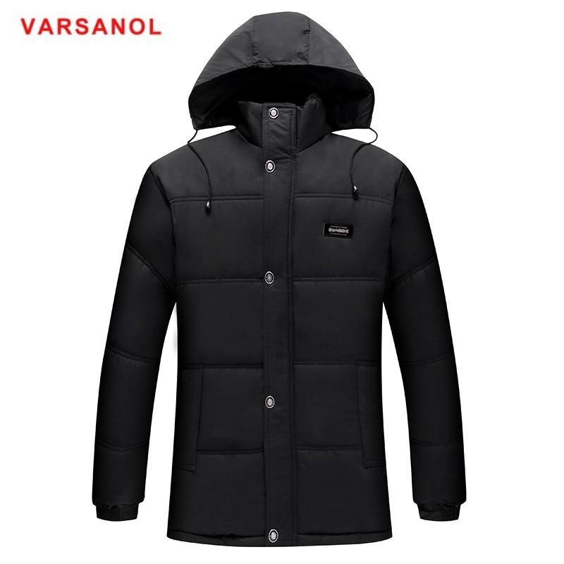 Varsanol chaquetas y abrigos de invierno 2018 Parkas para hombres abrigo de algodón para hombre Parka chaqueta con capucha cálida larga chaquetas sueltas lo más nuevo