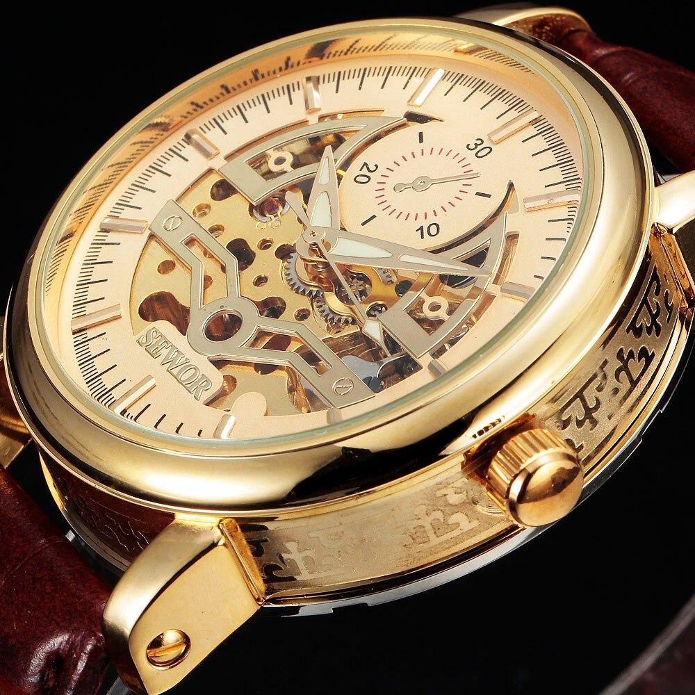 Reloj armazón de oro de lujo marca SEWOR, reloj de pulsera mecánico automático de negocios para hombre, reloj de pulsera de cuero, relojes militares para hombre, regalo