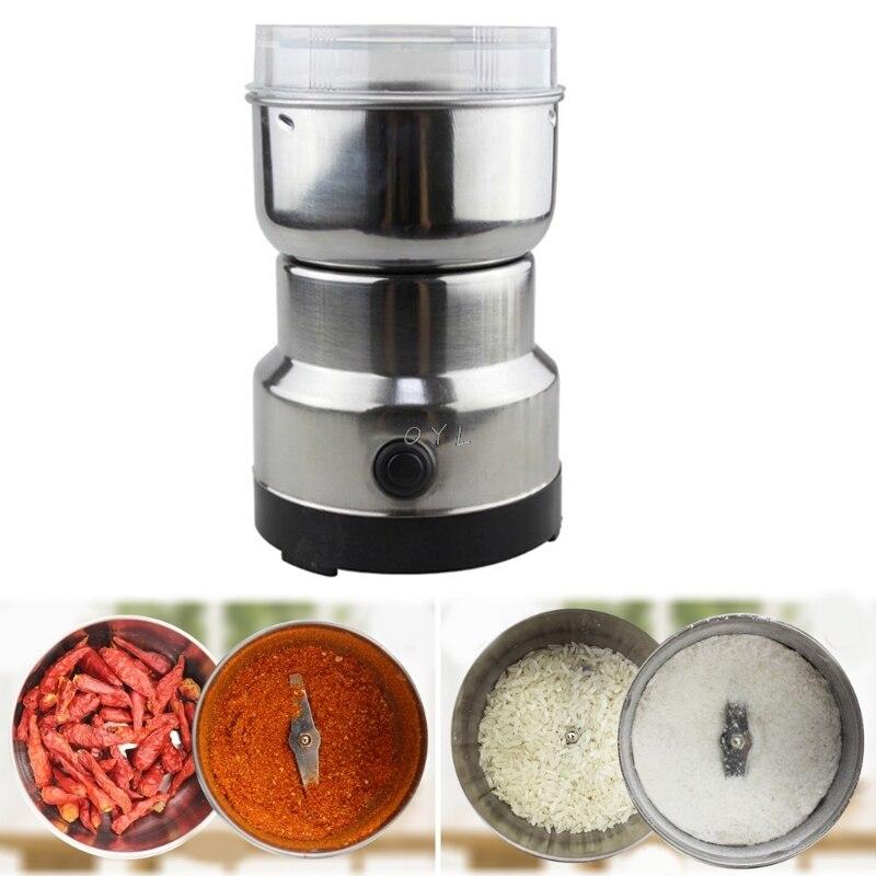 Moedor de café elétrico inoxidável ervas/especiarias/nozes/grãos/grãos café moagem aparelho de cozinha moedor de café plugue da ue