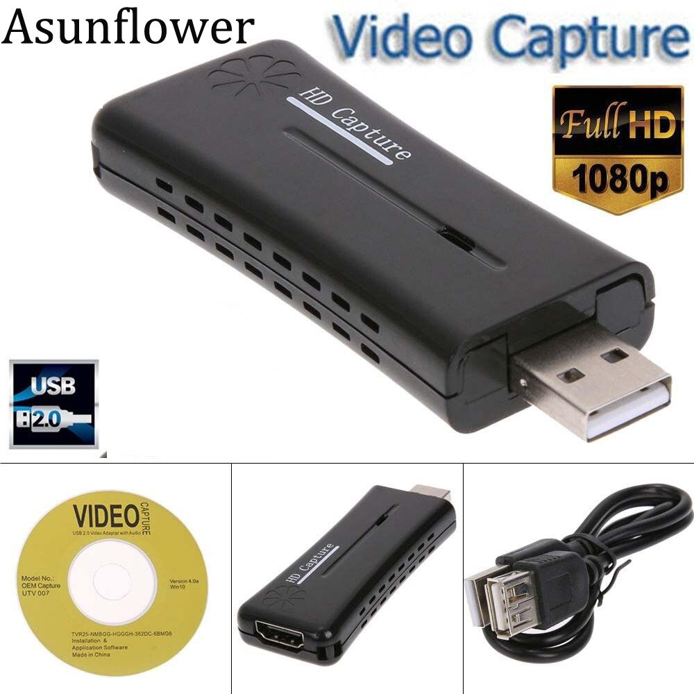 Asunflower HDMI USB Video Capture Card USB 2.0 Port 1080p Mini HD Recorder For Microsoft Windows XP Vista Win7 8 10 Game Capture