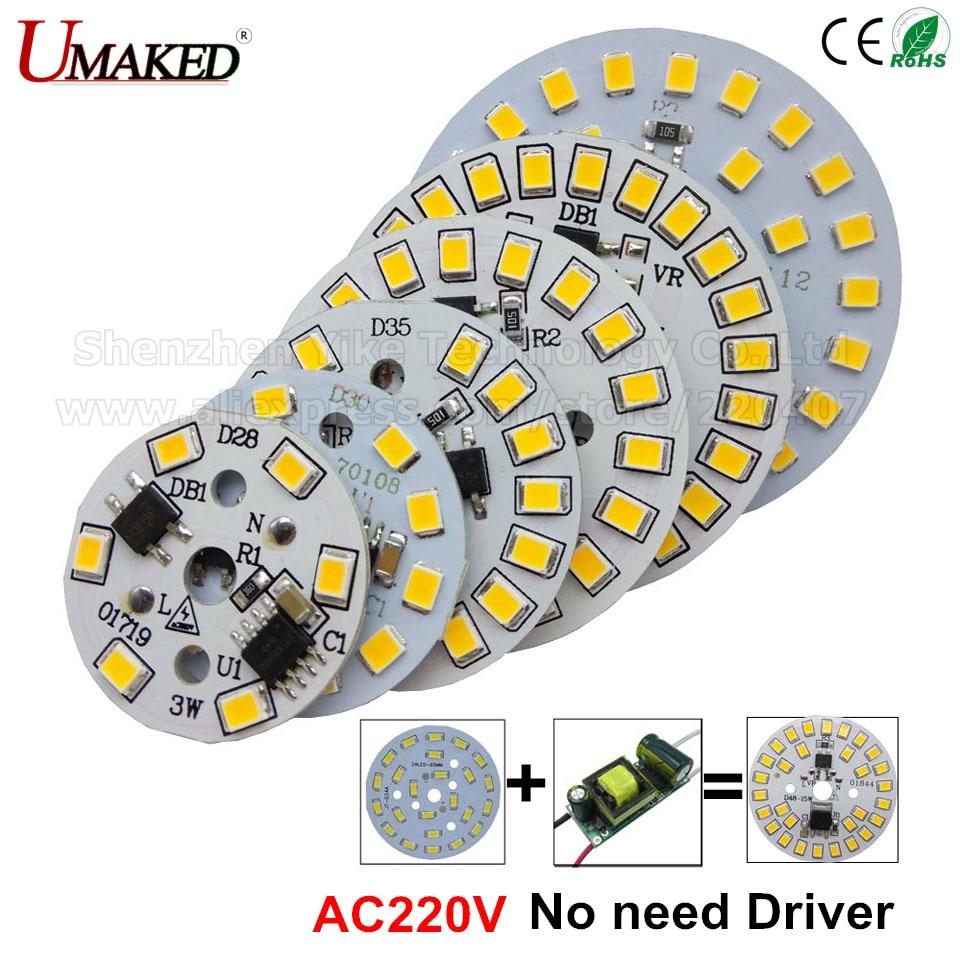 10pcs ac 220v led pcb SMD2835 3w 5w 7w 9w 12w 15w integrated ic driver, Led beads smart IC SMD, Light Source For LED Bulb