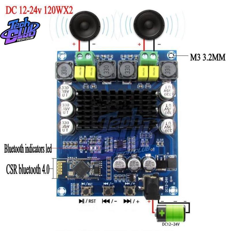 TPA3116D2 120W + 120W, receptor de Audio inalámbrico Bluetooth 4,0, placa amplificadora Digital de alta potencia, 2x120W