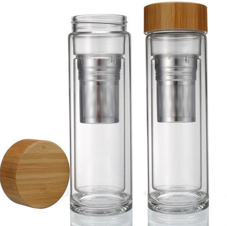 Copo de chá de vidro murado dobro da tampa de bambu 400ml. Inclui filtro e infusor cesta garrafas de água transporte rápido