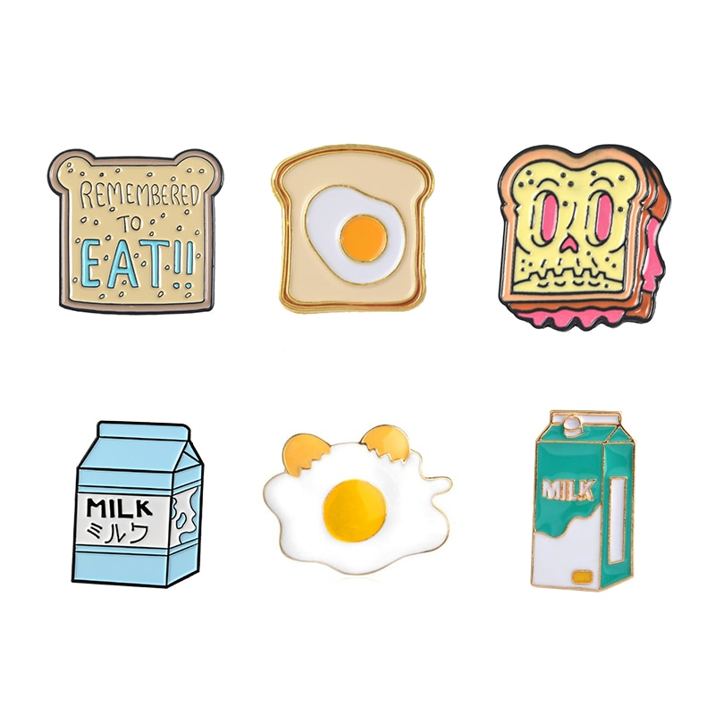 Идеальный Завтрак эмаль Pin милый мультфильм тост ломтики хлеба Молоко Яйцо Броши джинсовое пальто булавка рубашка отворот булавки подарок для друзей