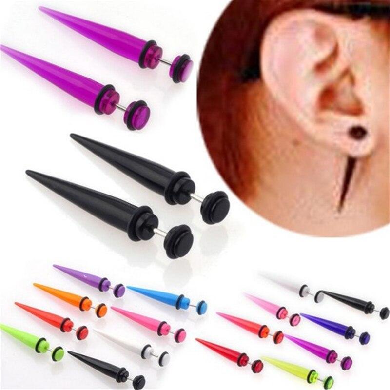 1 par UV acrílico falso oído ensanchador pendiente cónico espiga tramposa expansor oreja joyería corporal a la moda