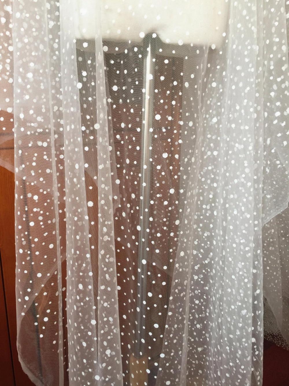 5 yardas de purpurina Polka punteado de tela de encaje de malla de Tul blanco para velo de novia capa Bolero accesorios vestido de boda forro de tela