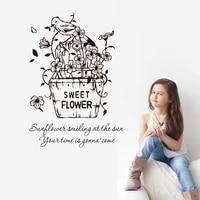 Autocollant de fleur douce de dessin anime  autocollant mural de chambre denfants  decoration de salon de maison  nouvelle collection  offre speciale