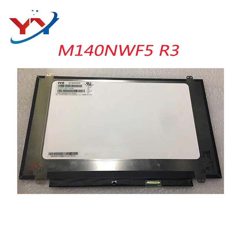"14 ""FHD LCD pantalla LED Panel de la pantalla de matriz de M140NWF5 R3 NV140FHM-N62 V8.0 M140NWF5 R2 LP140WF7 SPC1 LP140WF8 SPP2"