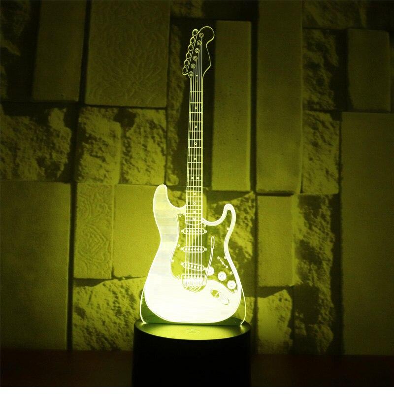 3D LED ночник электрическая гитара с 7 видов цветов лампа для украшения дома потрясающая визуализация Оптическая иллюзия