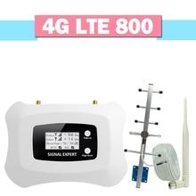 Walokcon 4G LTE 800 amplificateur de Signal de téléphone portable 70dB Gain 4G LTE 800MHz répéteur cellulaire affichage LCD amplificateur AGC 4G ensemble complet