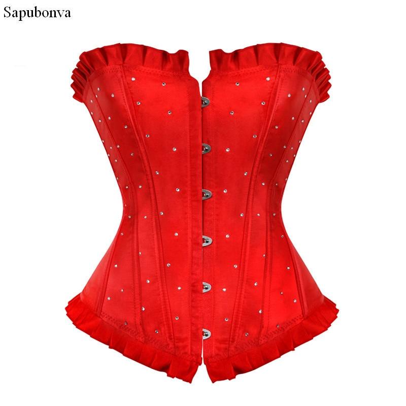 Sapubvava overbust costum corsés y bustiers tops baratos rhinestone brocado Rojo Negro Azul Púrpura señoras 6xl de talla grande korsett
