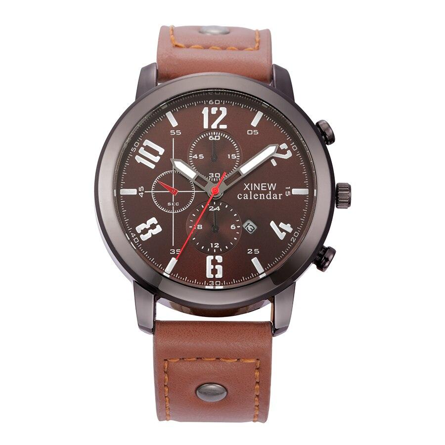 2018 Men Fashion Luxury Watches XINEW Brand Original Leather Band Date Calendar Casual Quartz Watch Male Relogio Masculino Marca