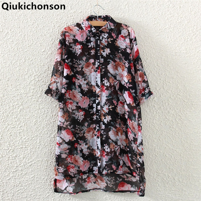 Qiukichonson Floral Chiffon Blouse Woman 2018 Spring Summer Tops Ladies Casual Low-high Design chiffon Long Shirts for women floral embroidered high low blouse