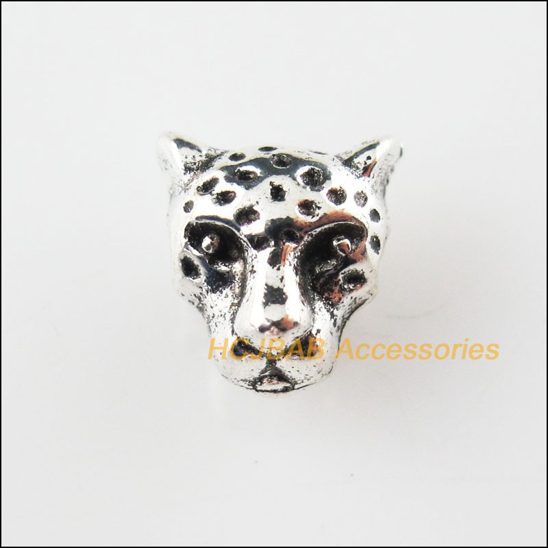 Fashion 12Pcs Tibetan Silver Color Animal Lion Head Charms Spacer Beads 9x10mm