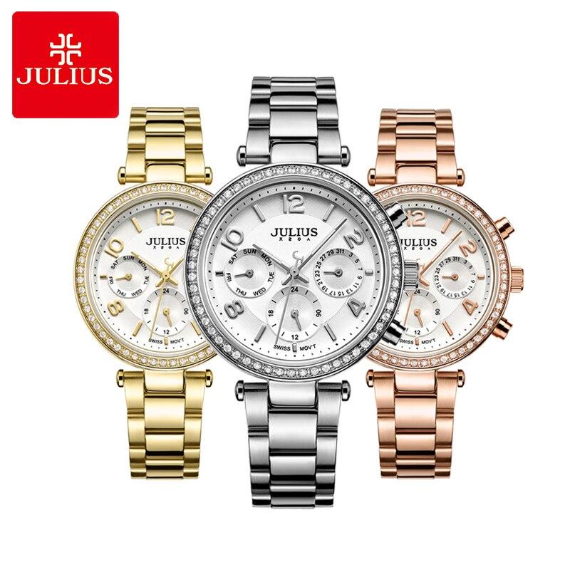 Finas de Cristal Menina de Aço Presente de Aniversário Real Multi-funções Relógio Feminino Quartzo Moda Horas Esporte Inoxidável Julius Caixa Isa