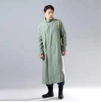 unisex winter clothing long gold thread embroidered cheongsam robe silver buckled ramie robe thickened cotton padded long coat