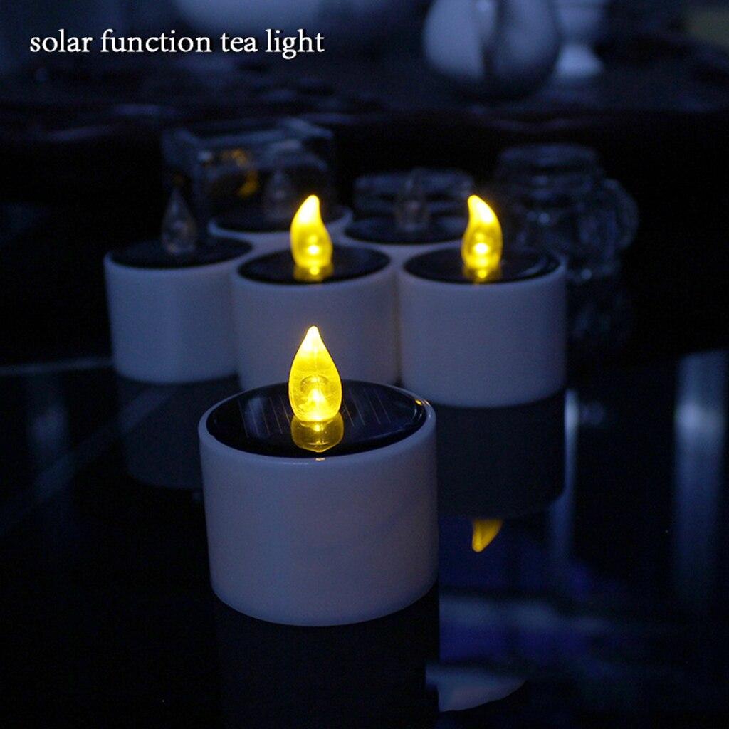 2x vela Solar LED romántica candelitas Luz de té sin llama vela para fiesta de cumpleaños boda hogar Pub Bar Decoración