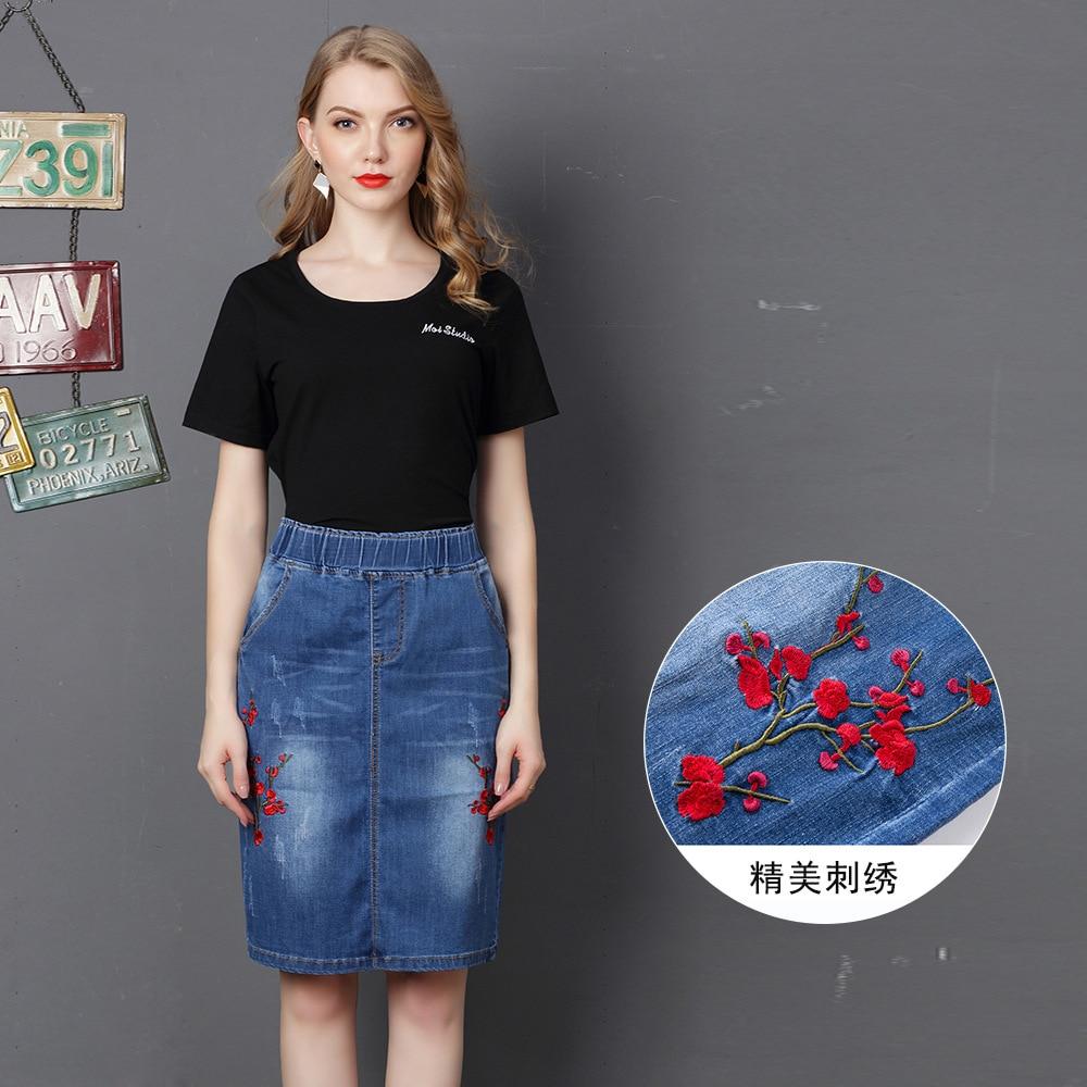 Vintage High Waist Denim Skirt Elegant Women Elastic Waist Chinese Style Embroidery Distressed Midi Jeans Bodycon Pencil Skirts