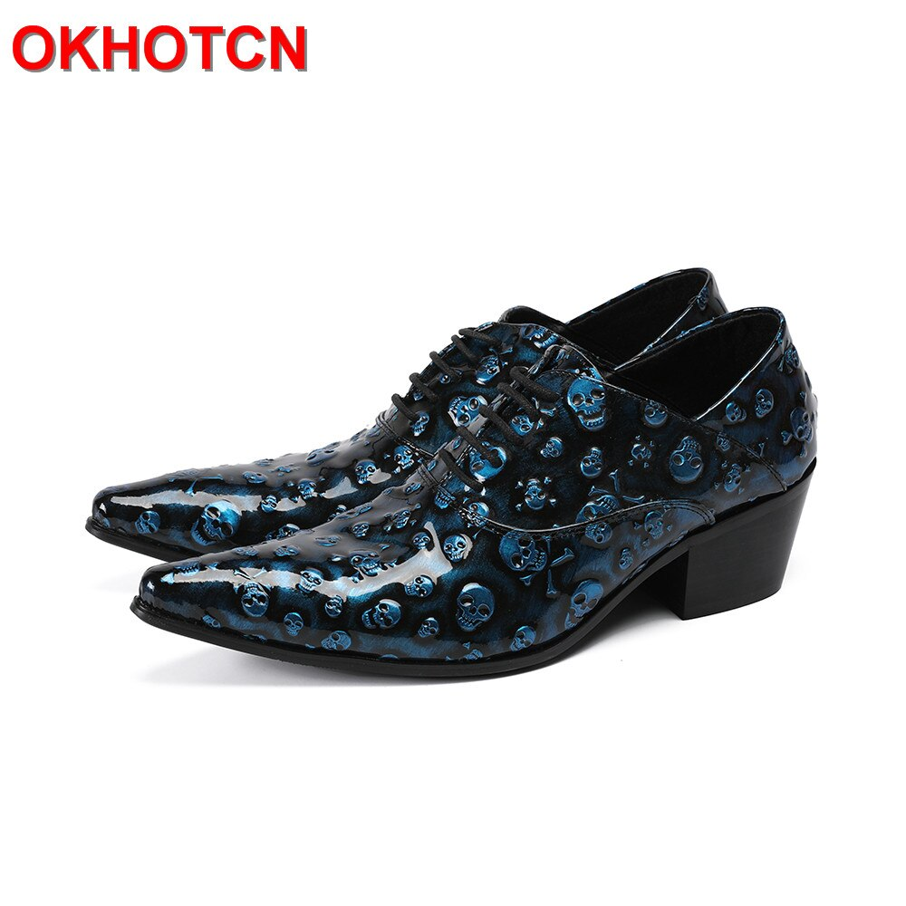 حذاء أكسفورد برباط أزرق للرجال ، تصميم جمجمة ، مقدمة مدببة ، جلد ، صناعة يدوية ، لفصلي الربيع والخريف