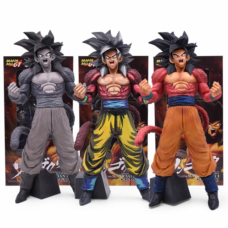 34cm Anime Dragon Ball GT Big Standing Goku Figure Toy Super Saiyan 4 Son Goku Figurine Action Figure Toys Doll DragonBall Model
