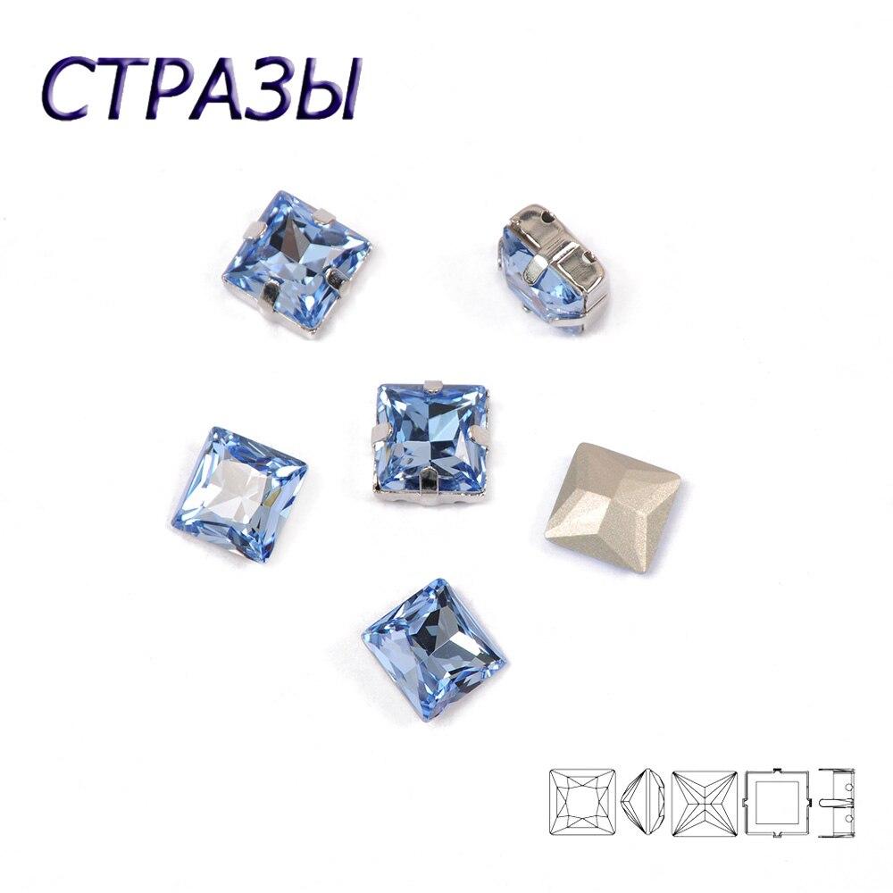 CTPA3bI luz zafiro forma cuadrada diamantes de imitación de cristal con garra coser en cristal piedra Strass diamante Metal Base hebilla ropa