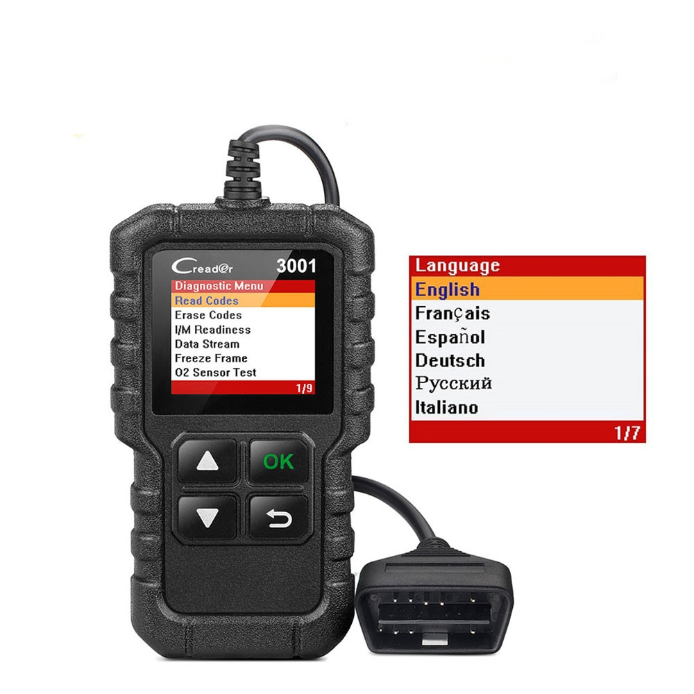 LAUNCH X431 Creader 3001 OBD2 completo lector de código OBDII herramientas de escaneo CR3001 OBDII herramienta de diagnóstico de coche PK AD310 ELM327 OM123 escáner