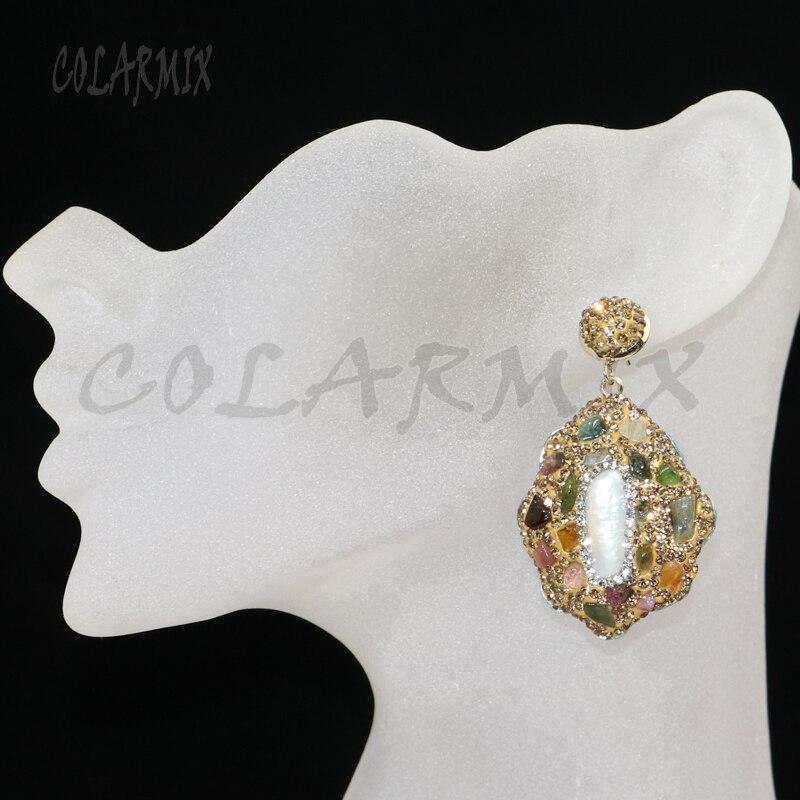 6 أزواج متعددة اللون حجر أقراط تمهيد الذهب حجر الراين أقراط هدية ل سيدة أقراط مجوهرات أقراط هدية لسيدة 8035