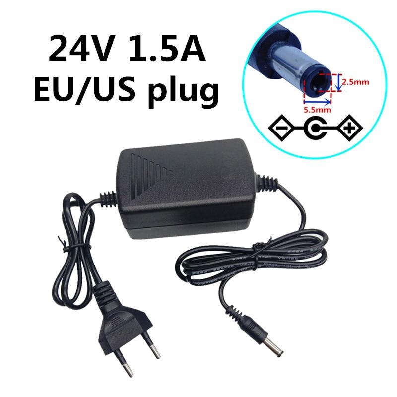 EU US enchufe AC 110V 220V transformador 24 V DC 1.5A 1500mA adaptador de fuente de alimentación 24 voltios dc5.5mm * 2,5mm/2,1mm cable doble de escritorio