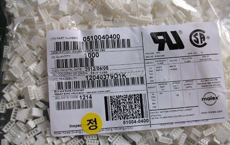 0510040400 موصل RCPT 2 مللي متر 4POS SGL 51004-0400 موليكس موصلات علب 100% جديدة وأصلية 510040400