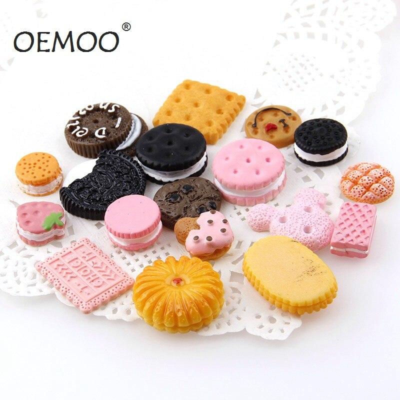 Lote de 30 unidades de Pastel de galletas de crema con parte posterior plana cabujón Kawaii DIY de resina artesanía decoración en miniatura de resina crema pan alimentos
