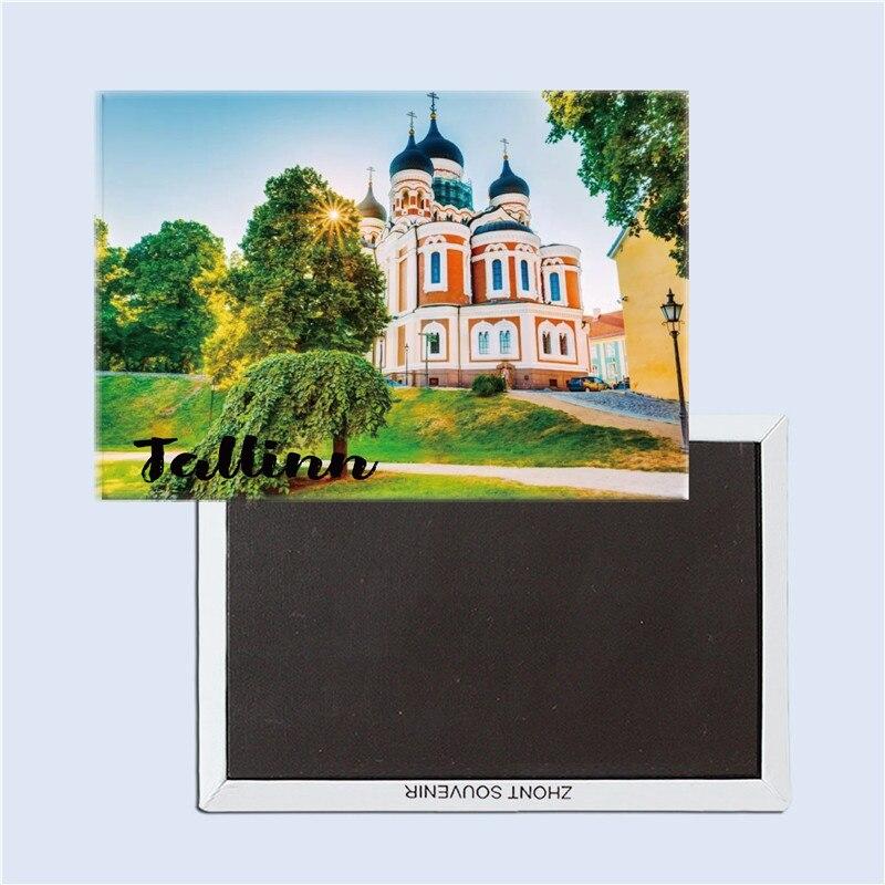 Tallin nevsky iglesia, recuerdos turísticos de Estonia, imán magnético para nevera, decoración del hogar, regalos para amigos 25053