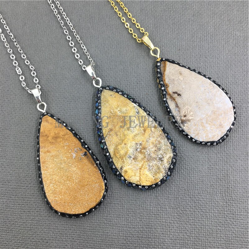 MY1024-قلادة حجر الأقحوان ، دمعة ، سحر ، سلسلة فضية أو ذهبية