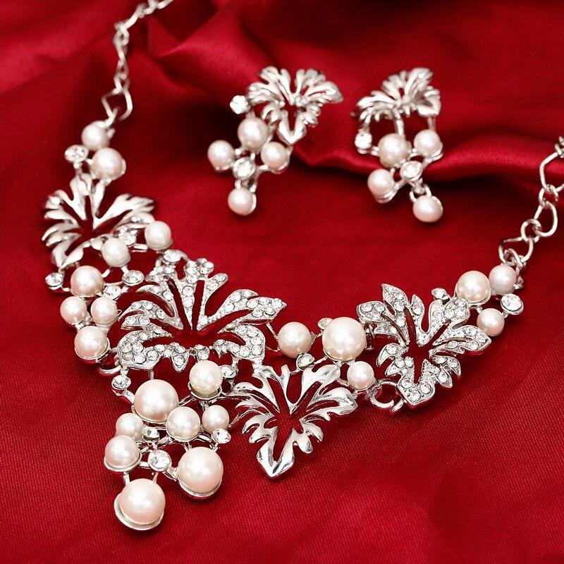 Conjunto de joyas de plata y oro a la moda, collar llamativo, pendiente, Perla de imitación, conjunto de joyería para mujer, conjuntos de joyas de flores para boda
