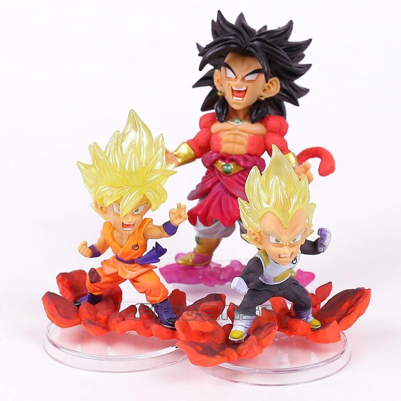Dragon Ball Super leyenda de Saiyan Goku vegeta Broly figuras de PVC juguetes de modelos coleccionables 3 unids/set