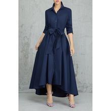 Irrégulière longue chemise Robe femmes élégant une ligne col rabattu Robe de à lacets pansement bureau dame femmes Robe Robe Vestido