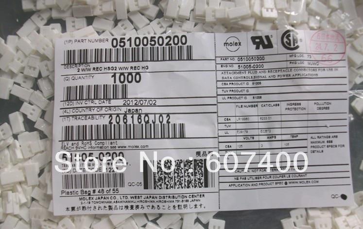 0510050200 conn rcpt 2pos 2 mm wire to wire 51005 0200 molex conectores terminais