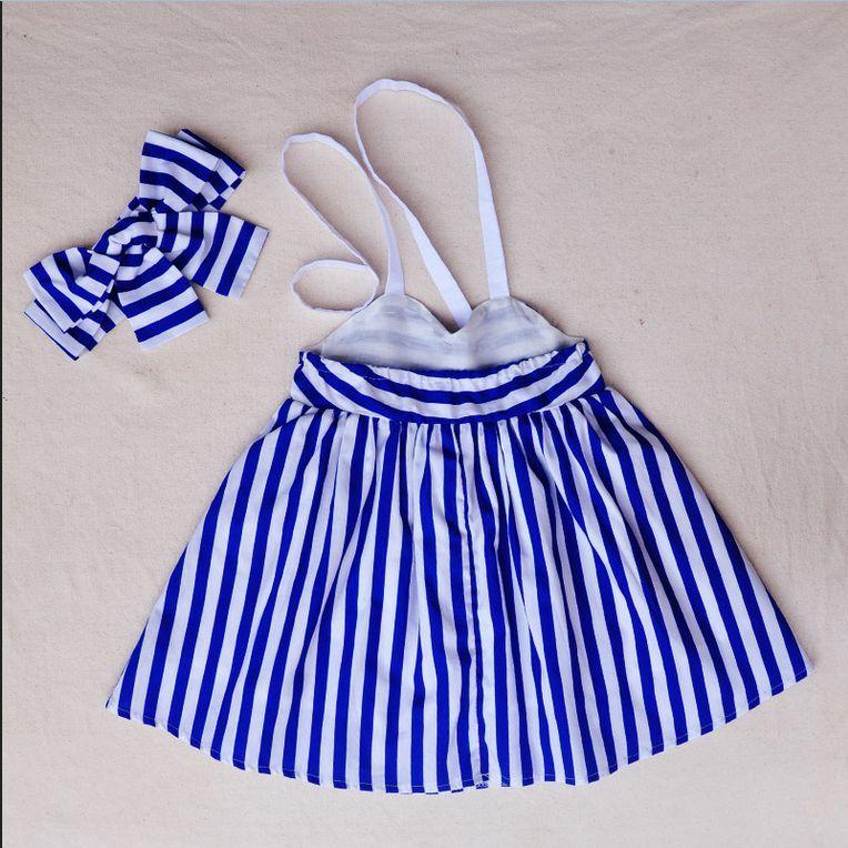Dresses 2017 New Children Girl Kids Toddler Baby Princess Party Striped Headband Blue Tulle Ball Tutu Dress Girl 1 2 3 4 5Y