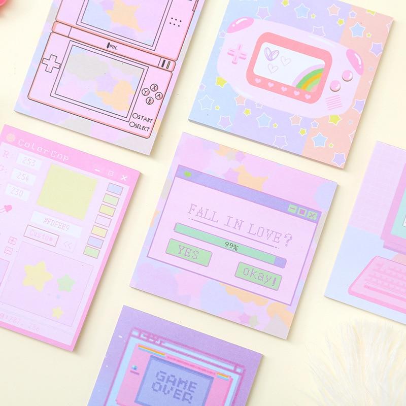 Máquina de Juegos de ordenador pegatinas planificador colorido notas adhesivas papelería Bloc de notas kawaii papelería Bloc de notas