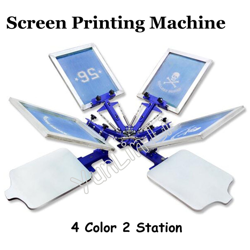 free shipping discount with gift 4 color 2 station silk screen printing machine tshirt printer press equipment carousel squeegee 4 Color 2 Station T-shirt Screen Printing Machine T-shirt Printer Press Equipment 55*45cm DIY T-Shirt TJ
