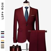 LeftROM 2019 Spring NEW Mens Fashion Slim Fit Stretch Finished Bottom Suits Blazer Groom Groomsmen Suit 2 pcs(Jacket+Pants)