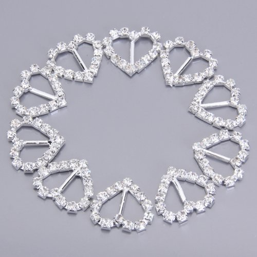 Hot 30pcs Heart + Round + Square Shape Ribbon Buckle Sliders for DIY Craft Wedding Card Invitation Favor