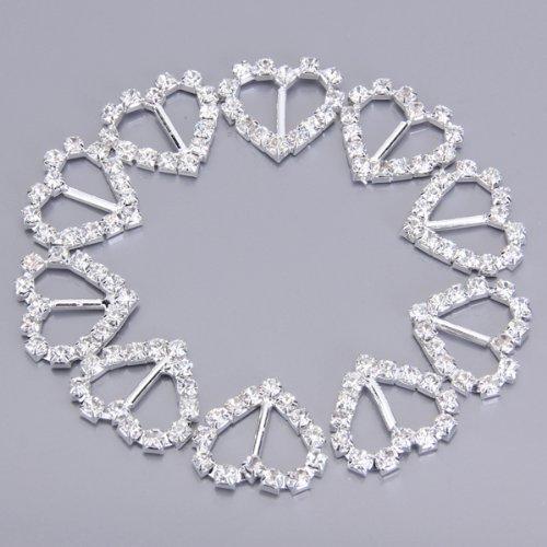 Quente 30 pces coração + redondo + forma quadrada fita fivela sliders para diy artesanato cartão de casamento convite favor