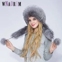 authentic womens winter hat fox fur and rabbit fur hat with 2 fluffy fox russian tail winter warm mongolian hat