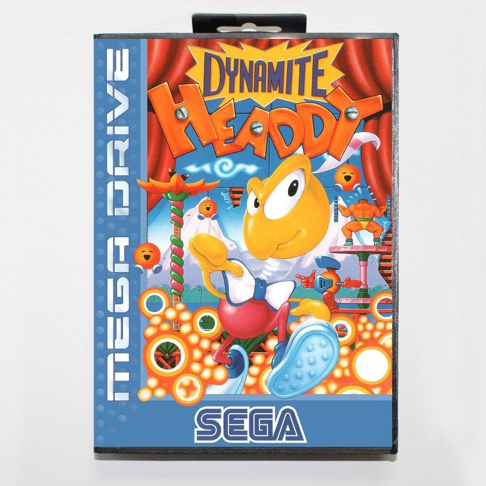 Cartucho de juego Sega MD de 16 bits con caja de venta al por menor-tarjeta de juego Dynamo Headdy para sistema Megadrive Genesis