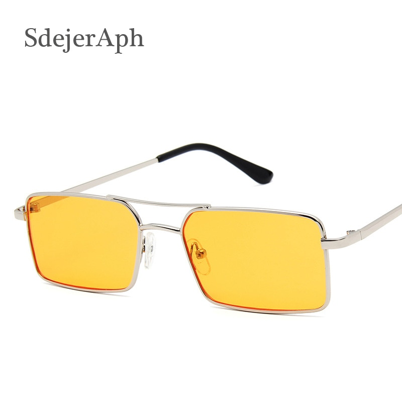 Gafas de sol anaranjadas Vintage de marca de diseñador de Metal montura lente de Color cuadrado señoras gafas de sol hombres gafas de sol de moda