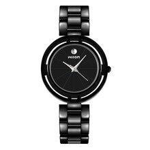 2018 mode Wilon marque Top qualité noir blanc en acier inoxydable paire montres femmes hommes amoureux Couple robe montres à Quartz