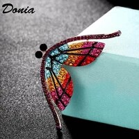 donia jewelry hot colorful crystal butterfly shape brooch jewelry fashion girls scarf set sweater needle cap accessories