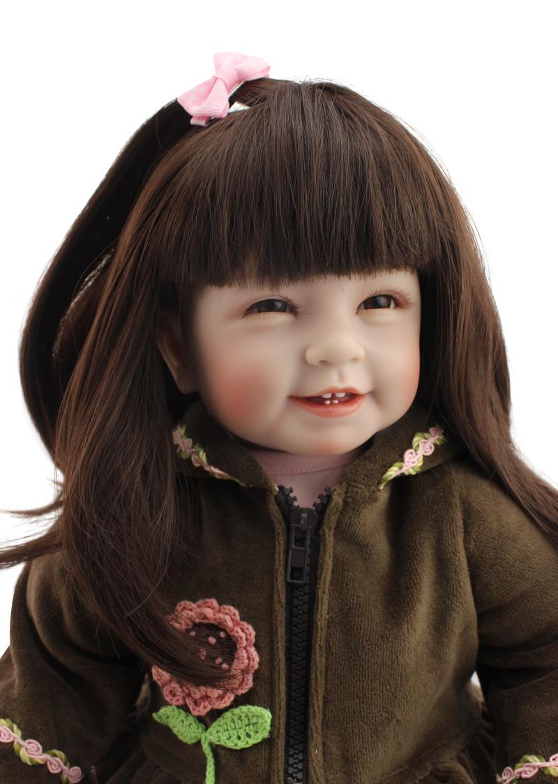 22inch 55cm Thailand girl dolls lifelike baby reborn bonecas long hair with teeth best girls toys